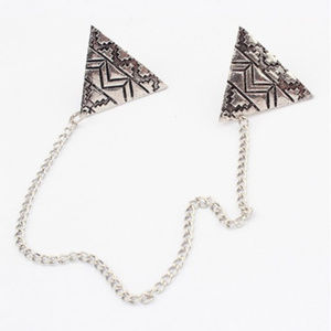Aztec Design Collar Tips & Chain ~ Silver